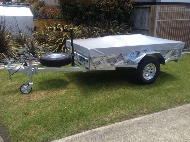 box trailer with spare wheel cover and jockey wheel